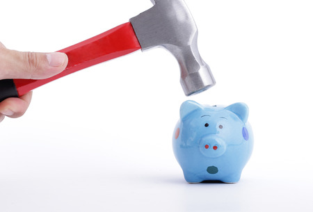 refunds: Hold Hammer for refinance or refunds your money to use something Stock Photo