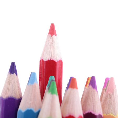 Colorful of pencils in concept all for one ,team work concept photo