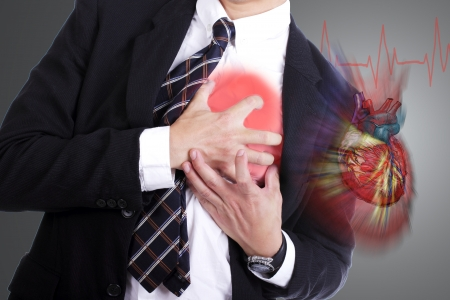 palpitation: Heart Attack ,Use hand grabbing a chest with white