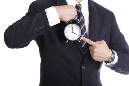 businessman watch and check time for complain something with white background photo