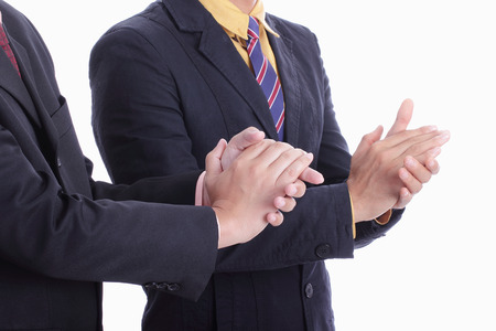 admiration: clapping hands for welcome and congratulation for appreciate in the office Stock Photo
