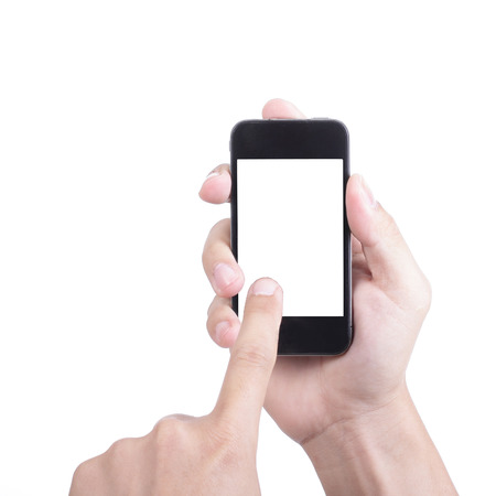 cell phones: Businessman holding Smart phone and use finger touch for order something Stock Photo