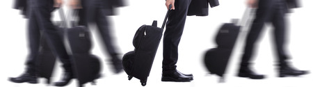 oversea: Businessman stop for think something in the airport  Stock Photo