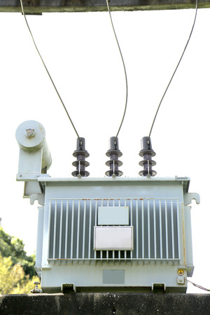 Close up Electrical power transformer in Thailand