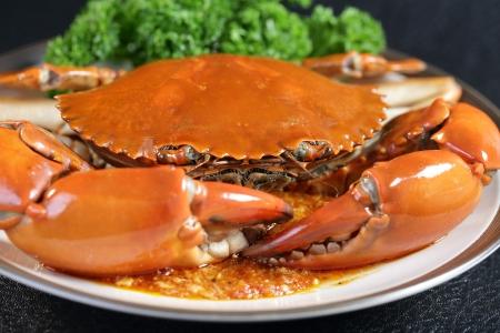 Singapore chili mud crab in  in restaurant Stok Fotoğraf