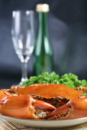 Singapore chili mud crab with wine  in  in restaurant photo