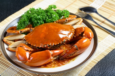 Singapore chili mud crab in  in restaurant Stock Photo