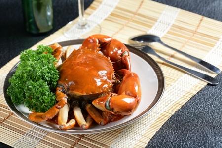 cuisines: Singapore chili mud crab in  in restaurant Stock Photo