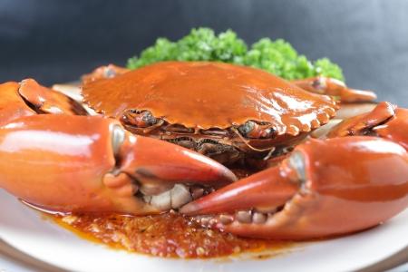 crabs: Singapore chili mud crab in restaurant