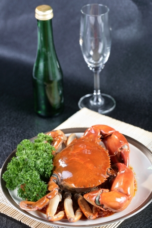 Singapore chili mud crab in restaurant photo