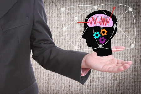 Businessman show brain networking  with concept business competition photo