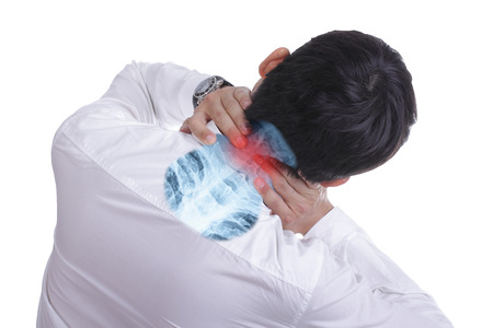 achy: Businessman use hand for suffering head pian with white background
