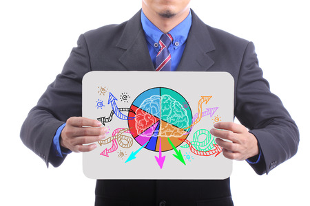 Businessman show Brain of creative with white board. photo