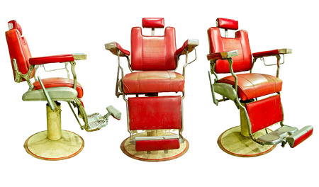 Barber Shop with Old Fashioned Chrome chair with white background  Stock Photo