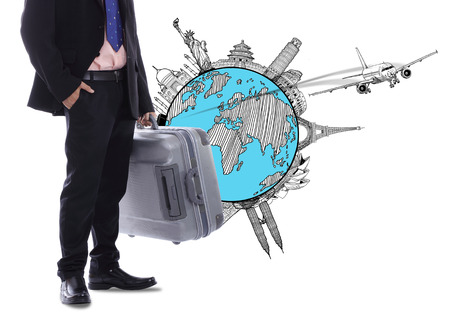 oversea: Travel businessman holding luggage for go around the world Stock Photo
