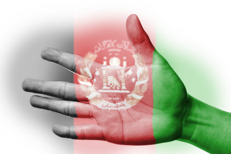 afghanistan flag: Cheering fan with Painting national Afghanistan flag with your hand with your hand for cheer your national sport