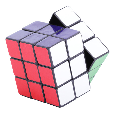rubik: Six color cube puzzle with clipping path