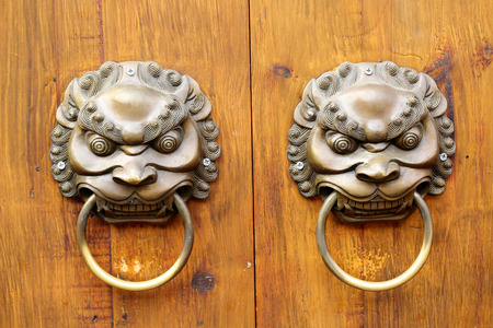 Close up Golden Chinese Old Door in China Temple photo