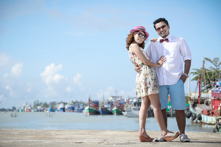 Close up Couple  love with vintage concept in Thailand photo