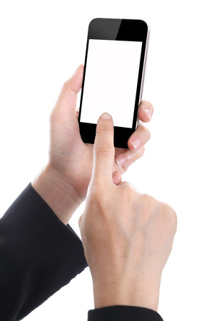 Business women holding Smart phone with white  photo