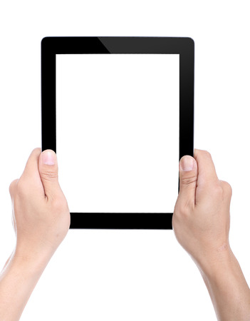 Women holding Tablet PC for do something with white  photo