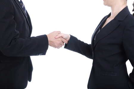 Businessman handshake for good relationship with thier marketing. Stock Photo