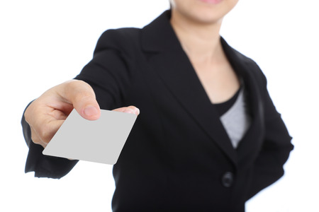 Business women holding name card for show her presentation