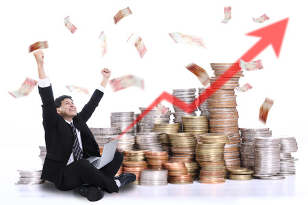 Businessman happiness after keep his money with his business Stok Fotoğraf