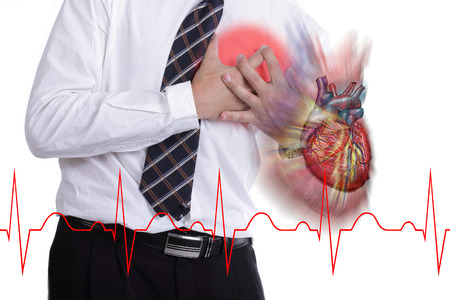 heartsick: hand grabbing a chest with white background
