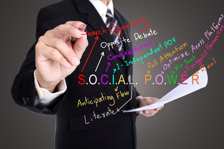 conversational: Businessman write social power with concept network media Stock Photo