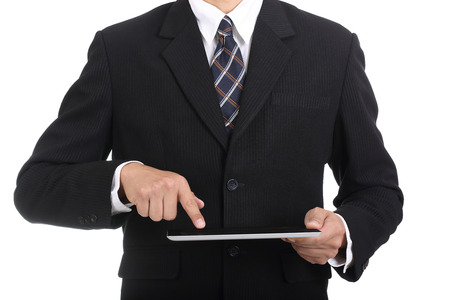 finer: Businessman use finer touching tablet pc