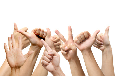 People show hands signs on white background  photo