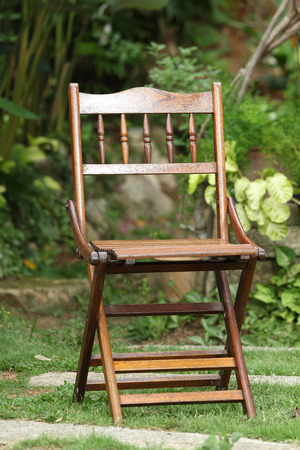 Wood Chair in the garden photo