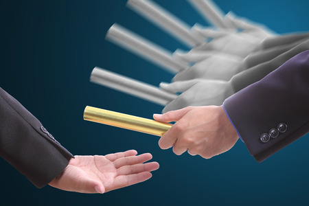 Businessman send baton to partner for good business.