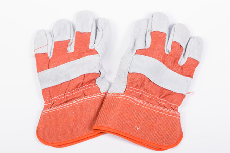 industrail: Close up Industrail Protective gloves with white backgroup