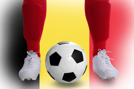Belgium soccer player with football for competition in Match game. photo