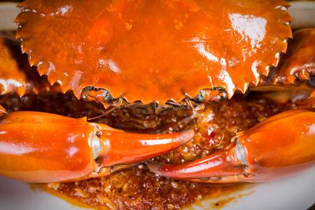 Close up Singapore chili mud crab in restaurant photo