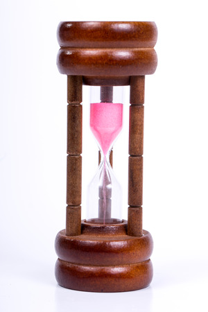 sand timer: Small sand timer  with classic wood Stock Photo