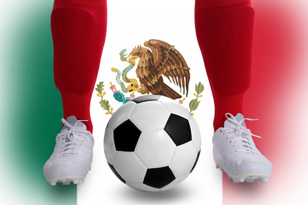 Mexico soccer player with football for competition in Match game. photo