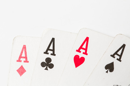 Poker of aces over isolated on  white backgorund photo