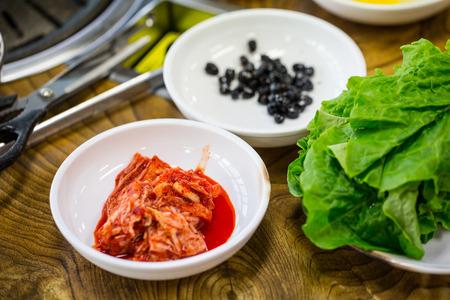 Macro Kimchi korea food on the  table photo