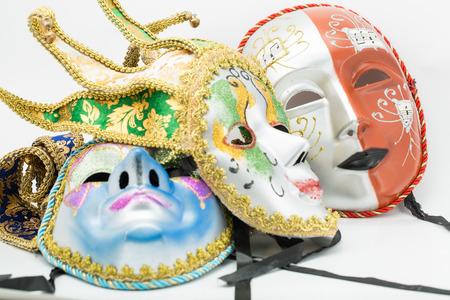 Colorful drama mask isolated with white background photo