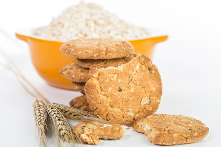Oatmeal cook isolated with whie background photo