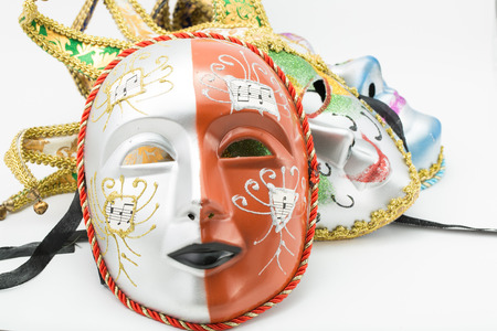 Colorful drama mask isolated with white background photo
