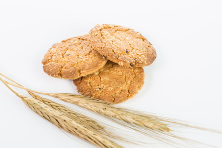 whie: Oatmeal cook isolated with whie background Stock Photo