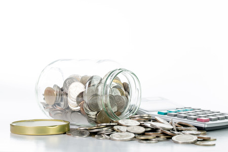 savings: Saving money into bottle for cash in future investment