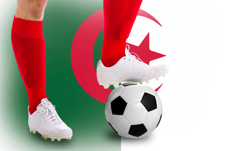 Algeria soccer player with football for competition in Match game. photo