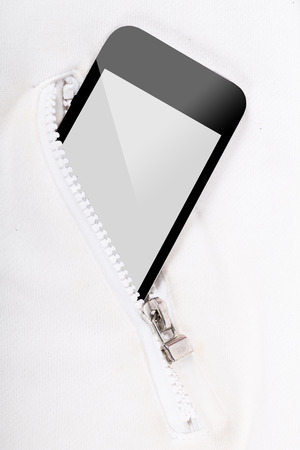personel: Smart phone inside pocket zip for connection someone Stock Photo