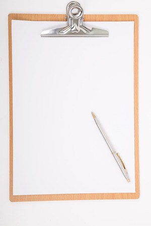 Clipboard and A4 white paper with isolated for add texture photo
