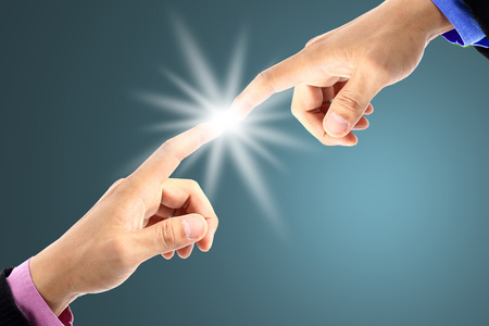 Businessman use fingers touching for good connection photo